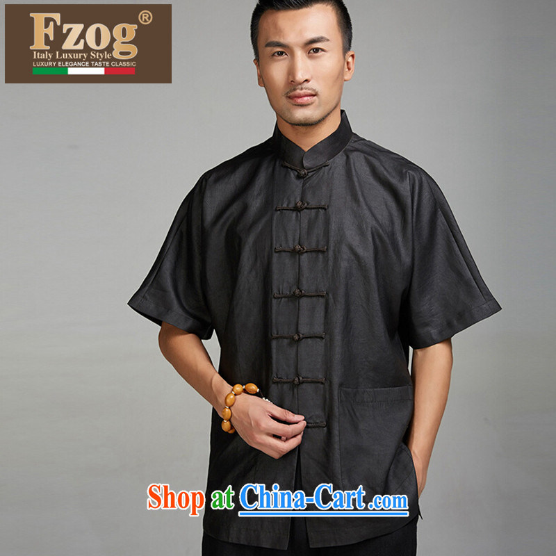 FZOG men's national costume, short-sleeved Chinese high-end sauna silk, older black T-shirt black XXXL