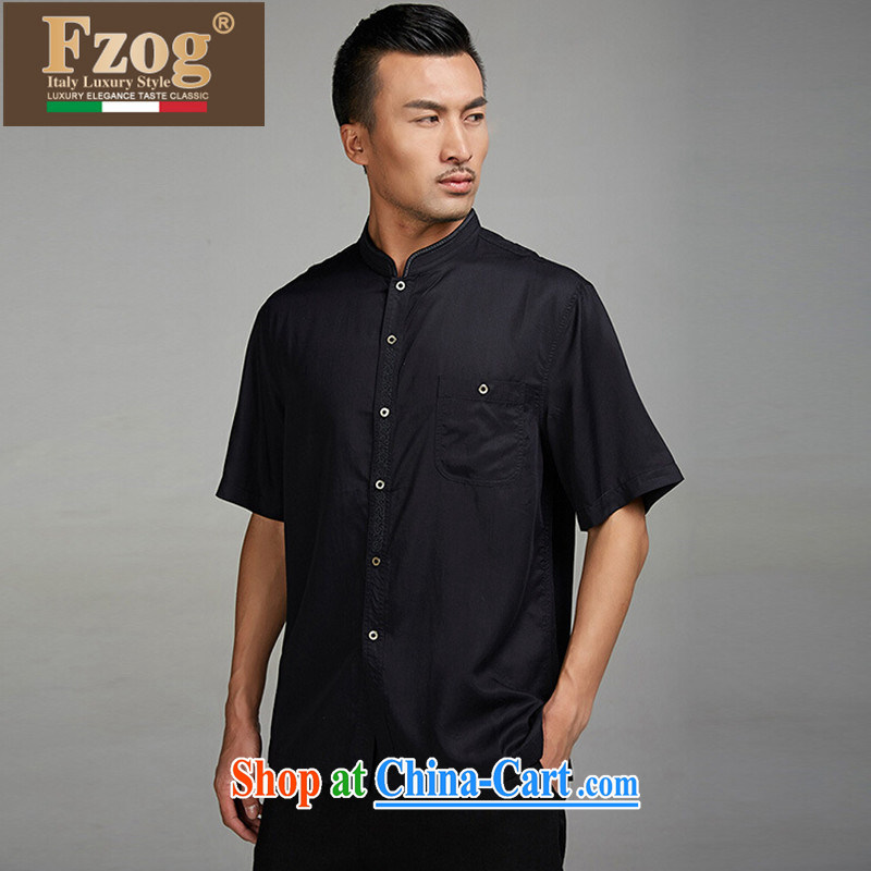FZOG high-end men's Dress Casual short with short-sleeved black, collar, comfortable T-shirt and black XXXL