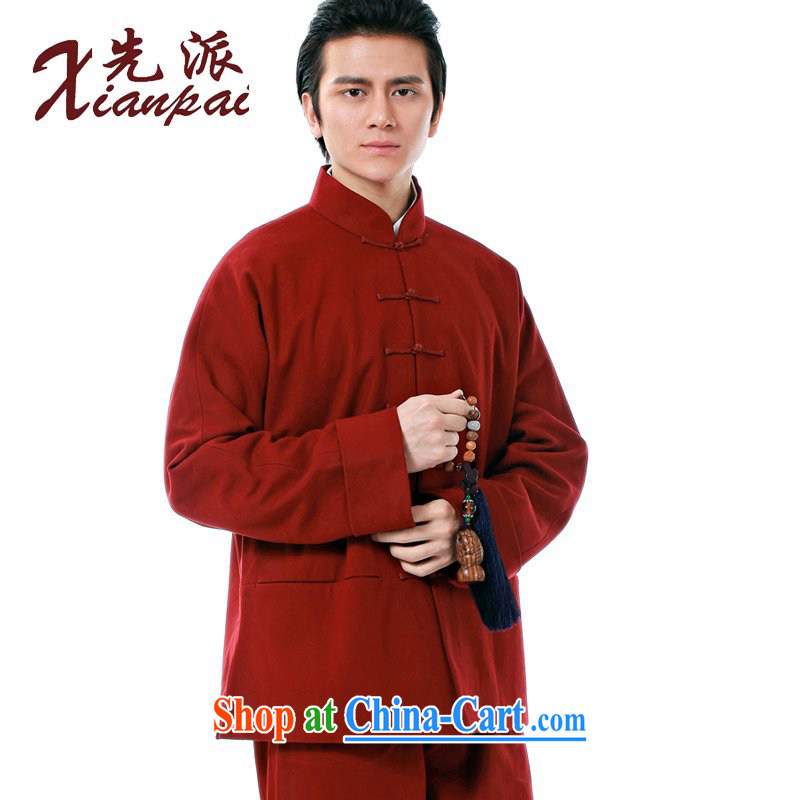 First China spring and autumn wind Chinese men's long-sleeved-tie Sau San Chinese national costumes and stylish cotton wool? spring coat and stylish Sau San Tong with double Composite cotton Red field that cotton wool, jacket XXXL