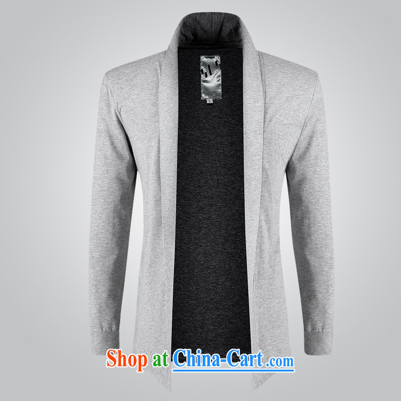 The D. rattan Tang is simple and casual long-sleeved shirt T men spring cotton thin coat 1529 light gray M
