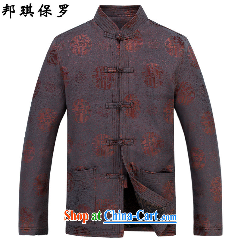 Bong-ki Paul 2015 new Chinese men and elderly Chinese men quilted coat jacket older Tang jackets men's Chinese Spring Loaded cotton suit birthday package coffee kit T-shirt and pants XXXL