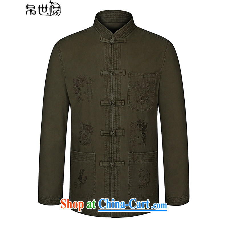 Palau's thick 2015 autumn and winter, the older Chinese men's long-sleeved jacket China wind Casual Shirt khaki-colored 190