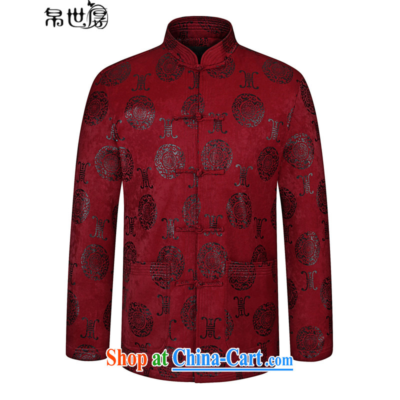 Palau's thick 2015 autumn and winter new middle-aged and older Chinese men's long-sleeved jacket China wind Casual Shirt wine red 190
