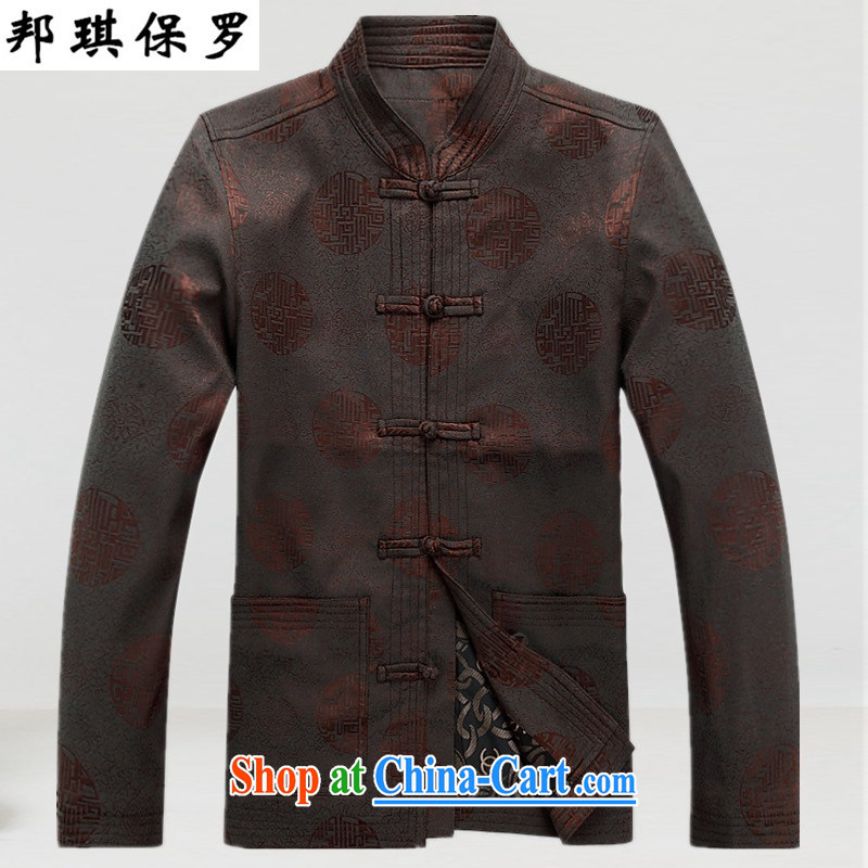 Bong-ki in Paul older men's autumn and winter, men's long-sleeved Tang is also a jacket with his father, the older person's T-shirt the day-to-day cotton suit brown XXXL