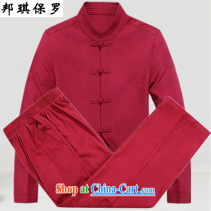 Bong-ki Paul Tang loading in the older Chinese men quilted coat jacket older Tang jackets men's Chinese Spring Loaded cotton suit birthday improved the collar cotton suit red T-shirt and pants XL