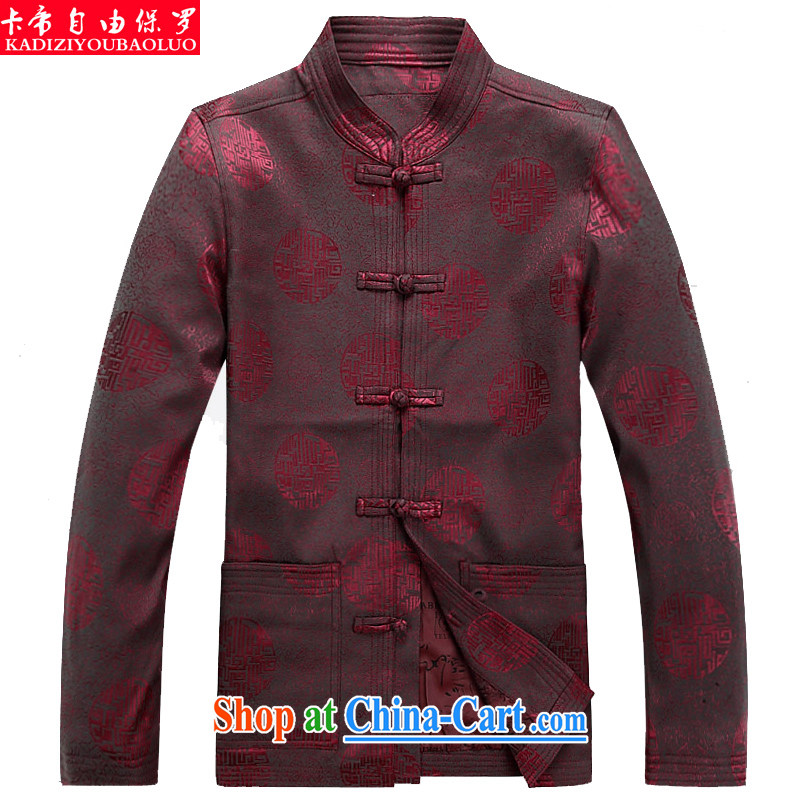 The Royal free Paul men's 2015 fall/winter new Chinese men's long-sleeved jacket coat men's China wind Chinese T-shirt package mail red 190