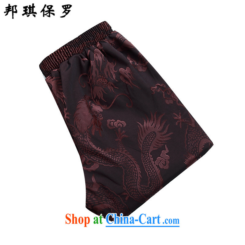 Bong-ki Paul China wind spring, men detained the Chinese Red dress Tang jackets, elderly father Tang package with improved stylish cotton clothing and coffee-colored Kit T-shirt and pants M, Angel Paul, shopping on the Internet
