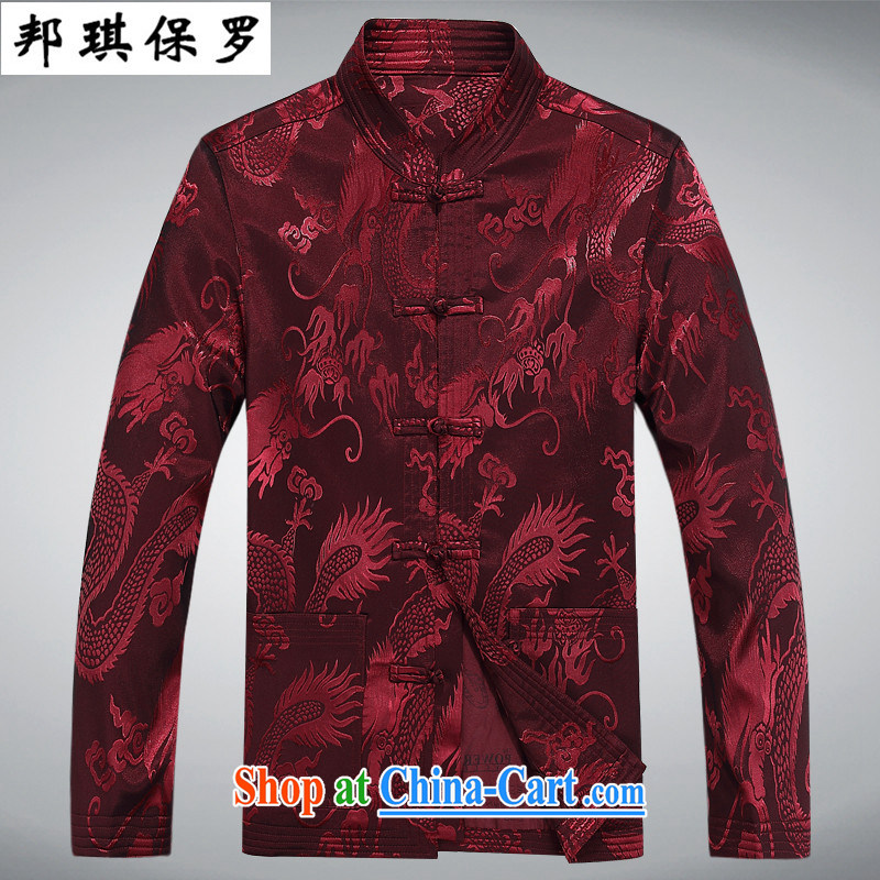 Bong-ki Paul spring and new, older long-sleeved Chinese men, for Chinese father jackets Chinese jacket large numbers of Chinese Wind improved dress red T-shirt XXXL