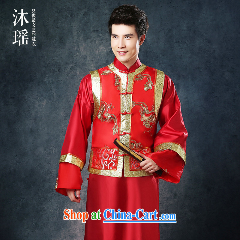 Mu Yao 2015 new Chinese wedding Summer Package Man Soo kimono Sau Wo service suits costumes groom Chinese marriage the code thick smock red XL brassieres 130 CM