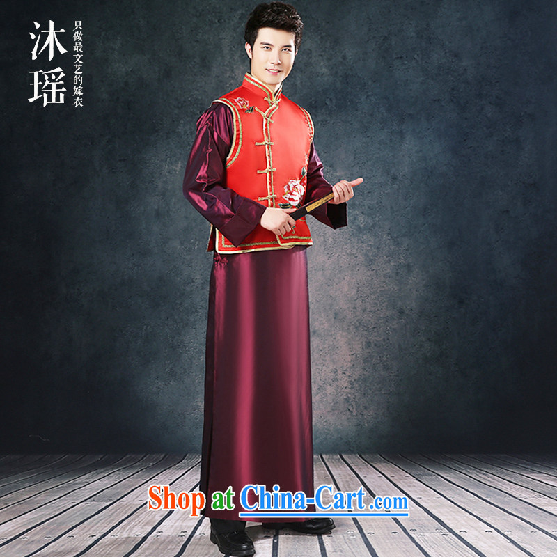Mu Yao Chinese Man-soo Wo service long, toast the groom Service Package-soo and robes men's welcome ceremony costumed Tang on the code 2 is set to thick red XL brassieres 125 CM