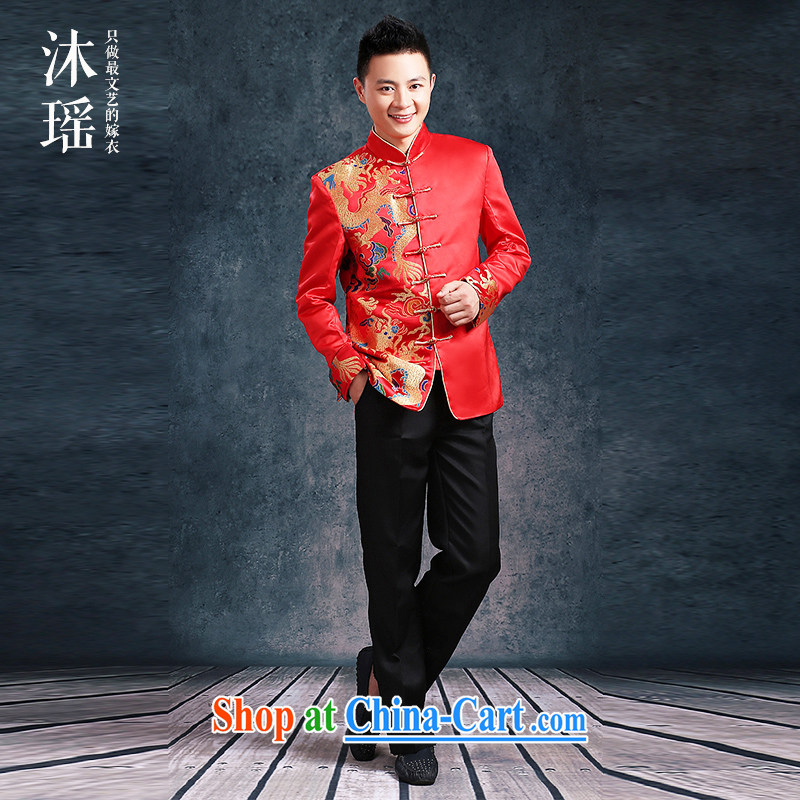 Mu Yao men's Su-wo serving the groom Chinese wedding dresses and wedding men's costumes dress uniform toast the code Chinese suits single-dragon S 6412 XL brassieres 130 CM