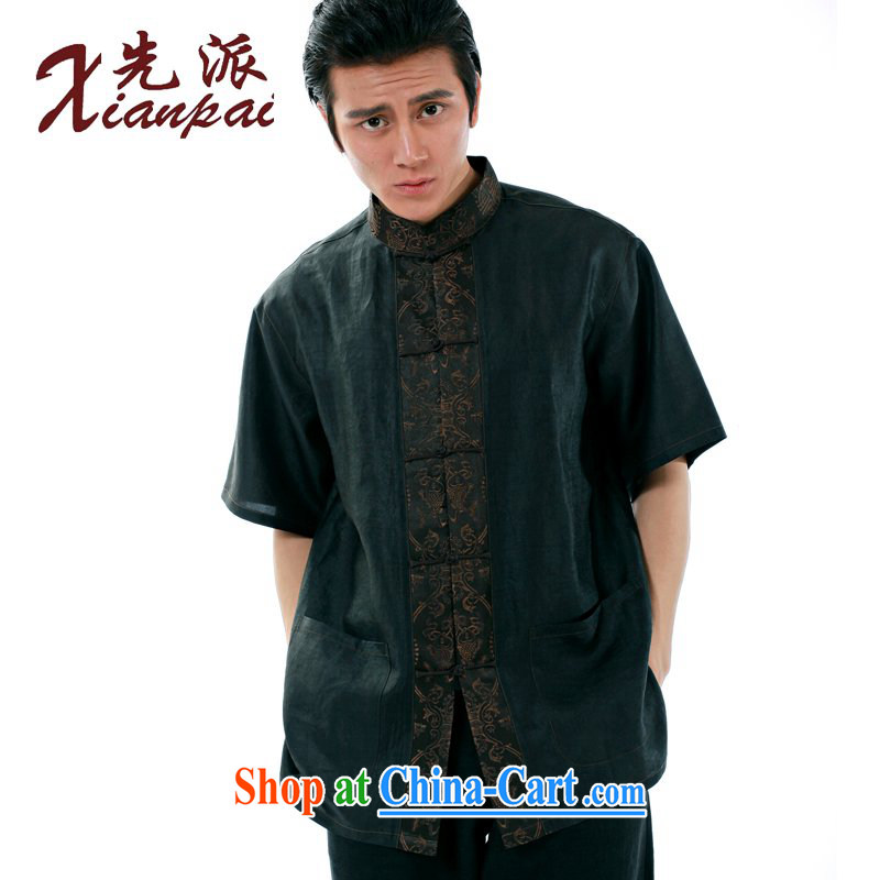 To send new summer fashion spell, hand-made silk incense cloud yarn fabric Chinese men and a short-sleeved Chinese Dress Shirt-buckle Yi Heung cloud yarn spell fish short-sleeved T-shirt XXXL