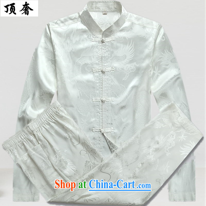 Top Luxury men Tang replace loose version, for the buckle clothing men's long-sleeved jacket spring, my father loaded the code load the Life wedding dresses, older Chinese White Kit T-shirt and pants 165