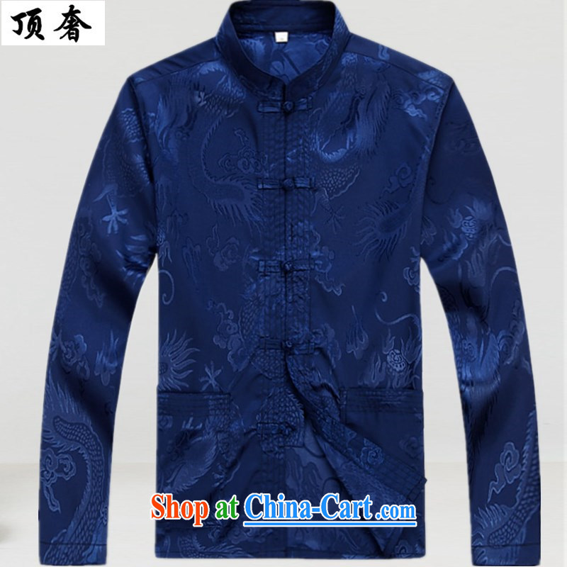 Top Luxury men Tang with relaxed version, for the buckle clothing and men's long-sleeved jacket spring, my father loaded the code with the life wedding dress Blue Kit trousers and coat 175 and the top luxury, shopping on the Internet