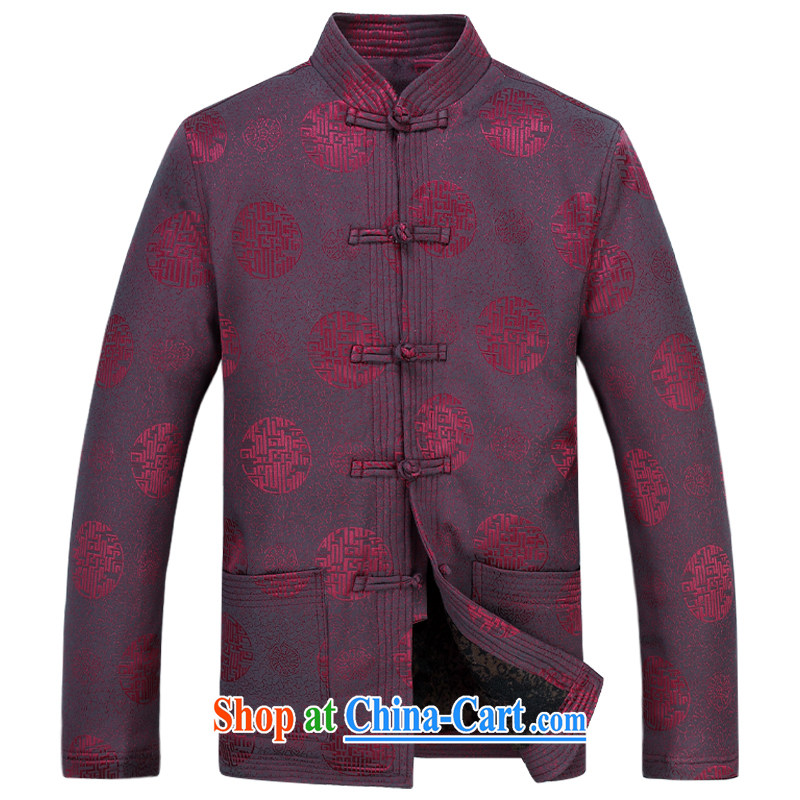 Meropia autumn and winter, men's Chinese China wind long-sleeved father replace older package purple XXXL