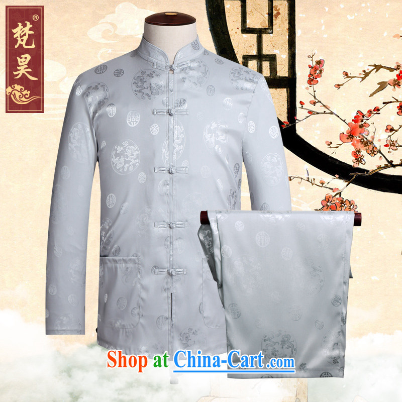 Van Gogh's new Chinese men's summer long-sleeved Kit Chinese, for the charge-back improved shirt birthday Chinese TCS 50 double-lung's Pearl gray 4 XL