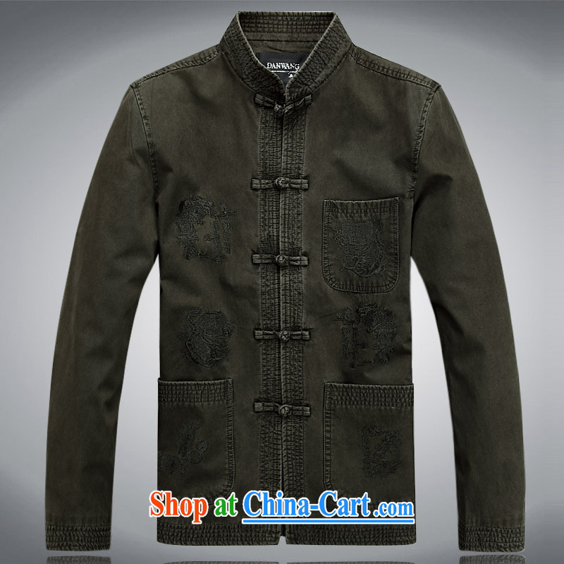 Meropia autumn and winter, men's Chinese China wind long-sleeved father replace older jacket brown XXXL