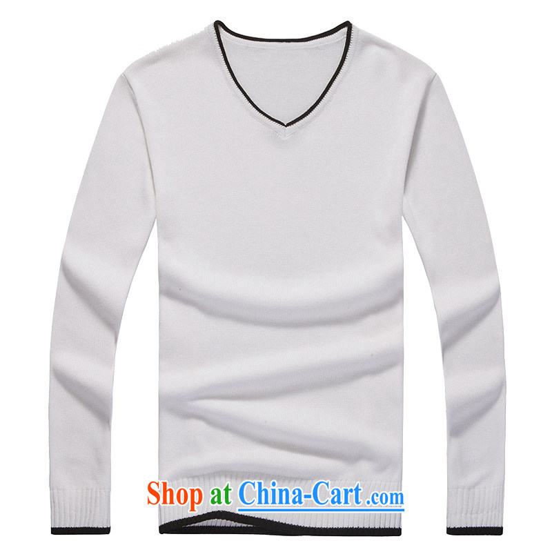 Global jeep 2015 new men's cotton solid color knitting T-shirt casual stylish long-sleeved V collar and knit-H men 12 - 2006 m White XXXL