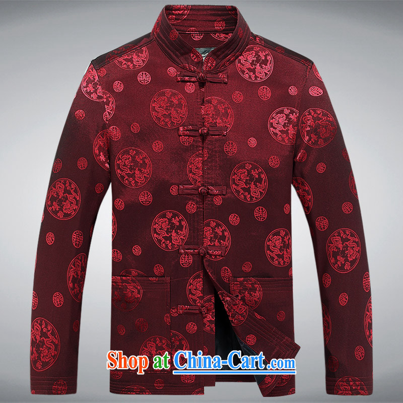 Meropia autumn and winter, men's Chinese China wind long-sleeved father replace older jacket dark red XXXL