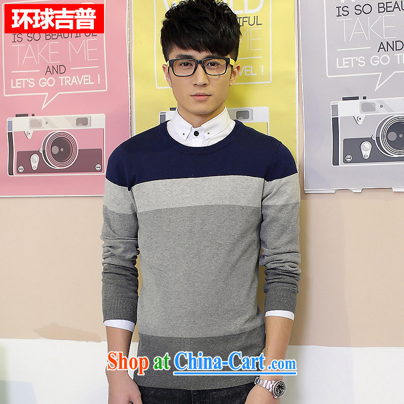 Global jeep 2015 new men's cotton stitching knitted T-shirt casual stylish long-sleeved round-collar and knit shirts and 2008 H Po blue XXXL