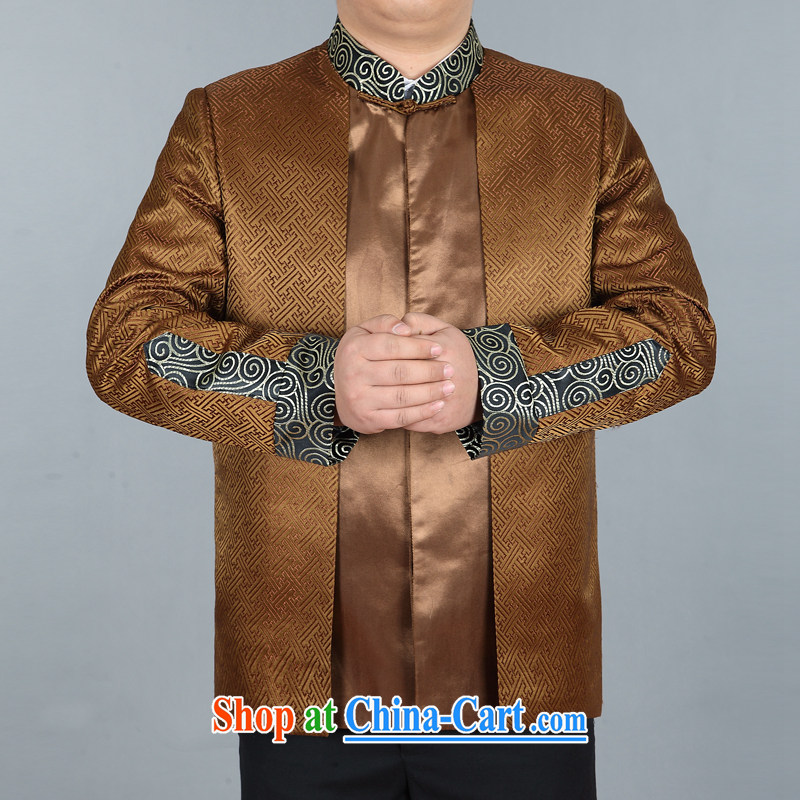 Meropia autumn and winter, men's Chinese China wind long-sleeved father replace older jacket tea-colored XXXL