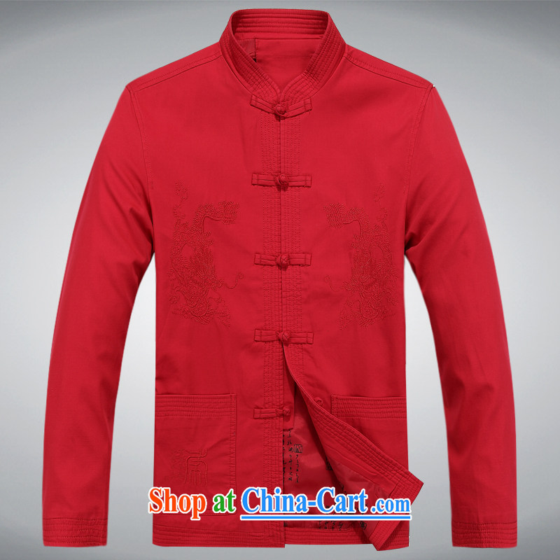 Meropia autumn and winter, men's Chinese China wind long-sleeved father replace older jacket red XXXL