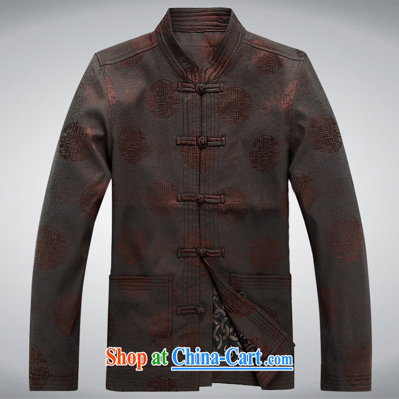 Meropia autumn and winter, men's Chinese China wind long-sleeved father replace older package Brown S