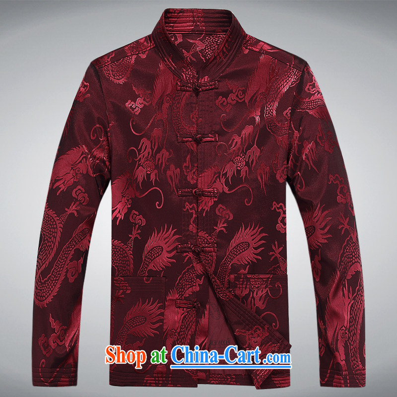 Meropia autumn and winter, male-tang with China wind long-sleeved father replace the older package deep red XXXL