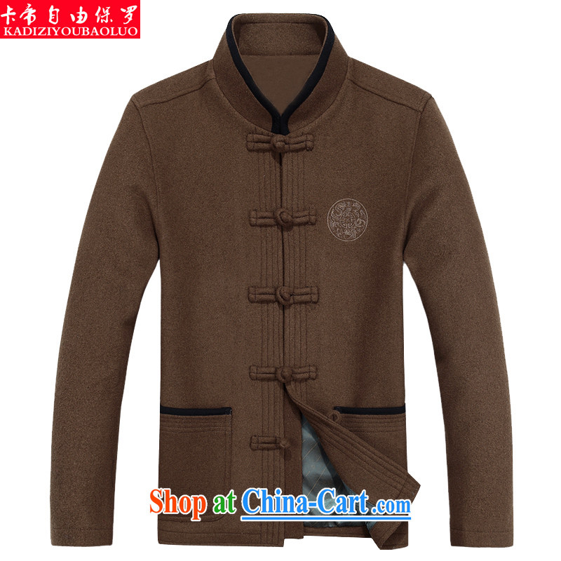 The Royal free Paul 2015 autumn and winter New Tang with long-sleeved brown hair? Tang mounted jacket men's thick Tang fitted T-shirt jacket male package mail brown 190