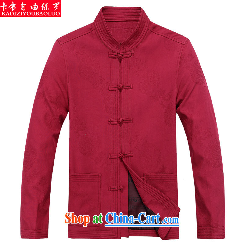 The Royal free Paul 2015 men's fall_winter New Tang replacing long-sleeved Chinese men's jacket coat Tang with long-sleeved T-shirt and packet-red 190