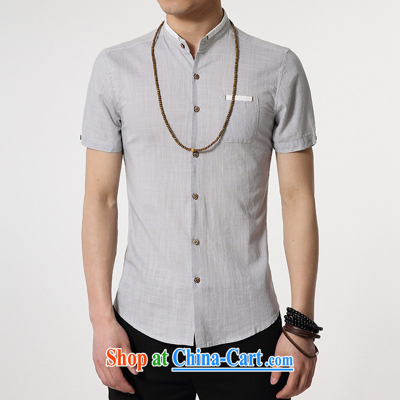 gurun vani 12 noon men's business Sun Yat-sen, short-sleeved shirt and linen shirt gray XXXL