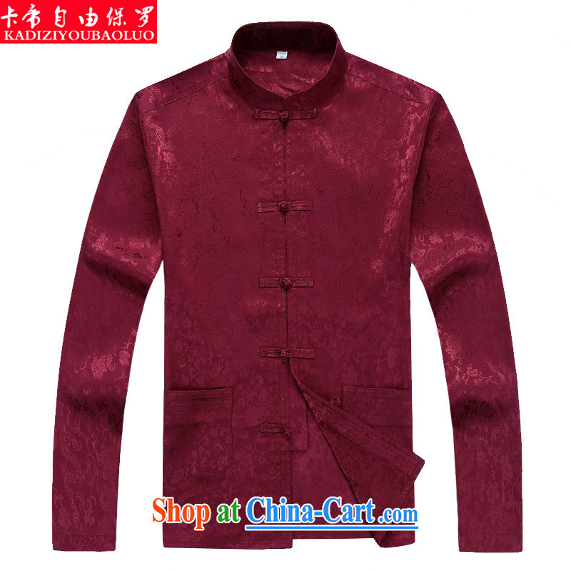 The Royal free Paul 2015 men's fall/winter new Chinese men's long-sleeved Tang replacing the older Chinese men's T-shirt Chinese wind package mail red 190