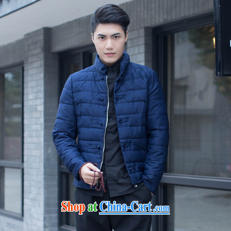 Take the male Tang with autumn and winter pure color manually for the buckle China wind and feather cotton suit cultivating jacket folder and picture color 3XL