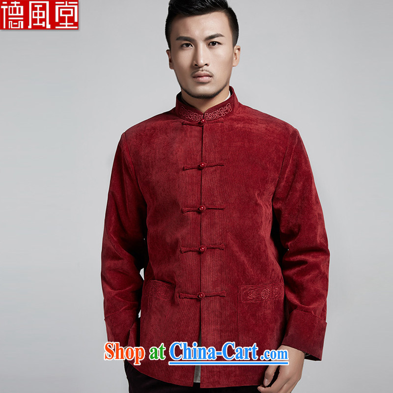 De-tong Feng Ze fall and winter men Tang jackets Chinese elderly in the collar over sleeveless Chinese style Chinese clothing dark 4 XL