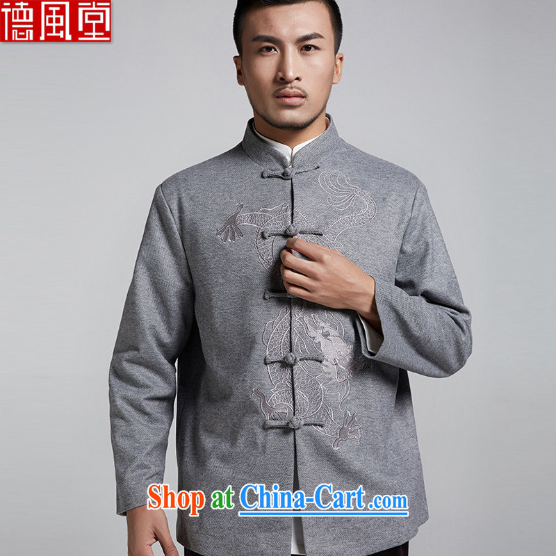 De-tong Dragon is gross Embroidery is, Chinese men's long-sleeved jacket Chinese winter clothes Chinese style Chinese clothing?gray 4 XL