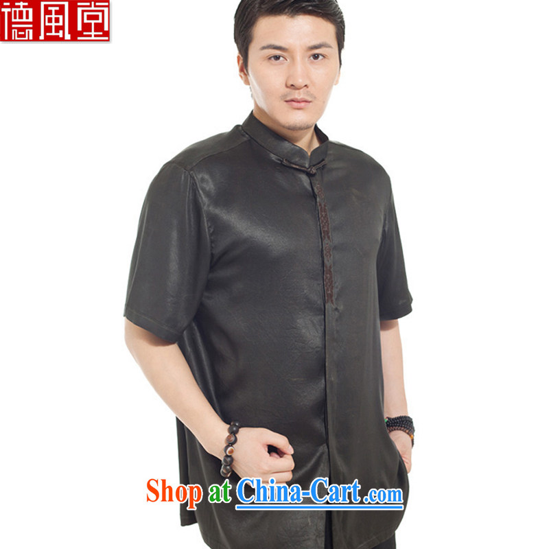 De-tong ink bamboo 100% silk fragrant cloud yarn male Chinese shirt summer Chinese short-sleeved Chinese clothing black L/170