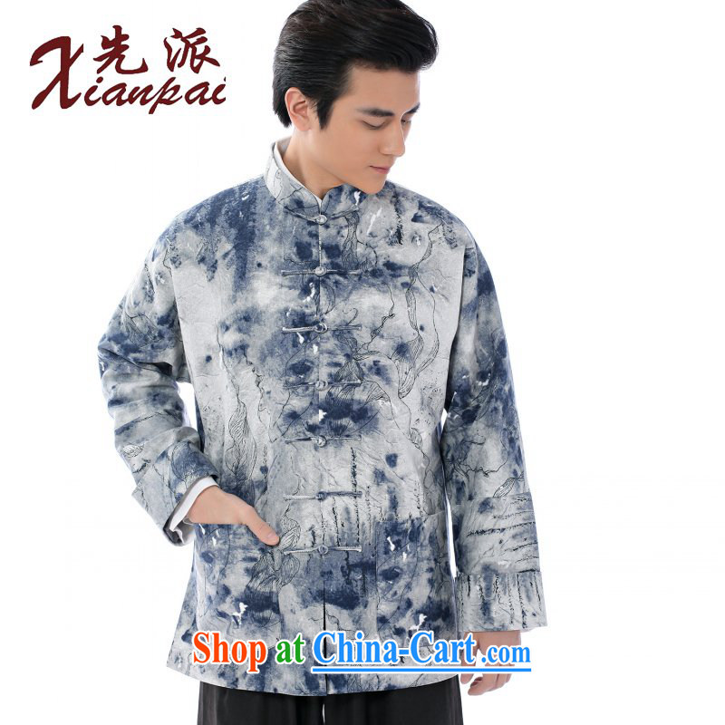 First Spring and Autumn and new linen men's Chinese Antique double-cuff long-sleeved jacket cynosure serving China wind youth ink art Lotus pattern shirt-tie, for the Lotus pattern linen jacket 4 XL the 5 day shipping