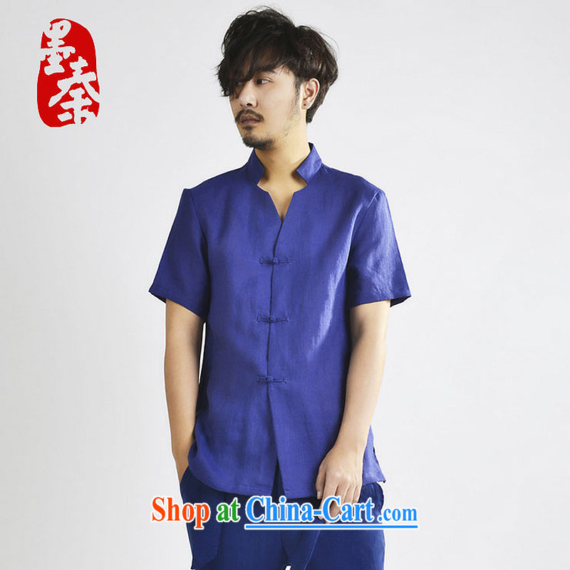 The Qin original innovation, short-sleeved shirt men's linen loose the code short-sleeved shirt China wind short-sleeved inch Yi men and short-sleeved XS 168,090 blue XXL_Jumbo
