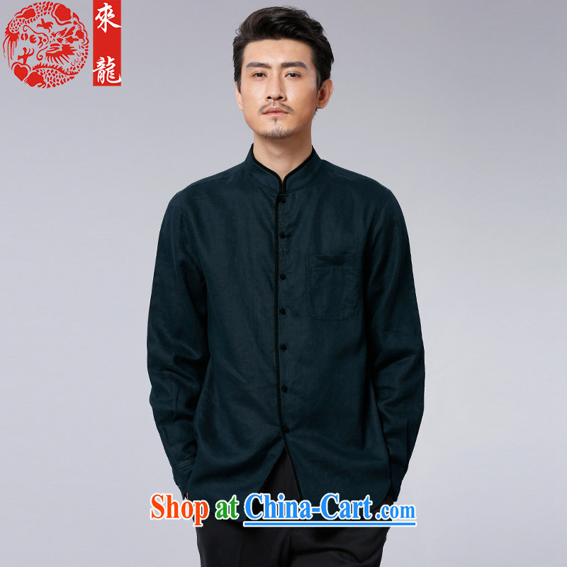 To Kowloon Tong with autumn 2015 New China wind men's linen long-sleeved T-shirt 15,582 dark green 48, dark green 52