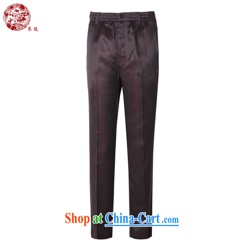 To Kowloon Chinese summer 2015 New China wind men's Sauna silk casual trousers 15,007 dark red 48, dark red 50