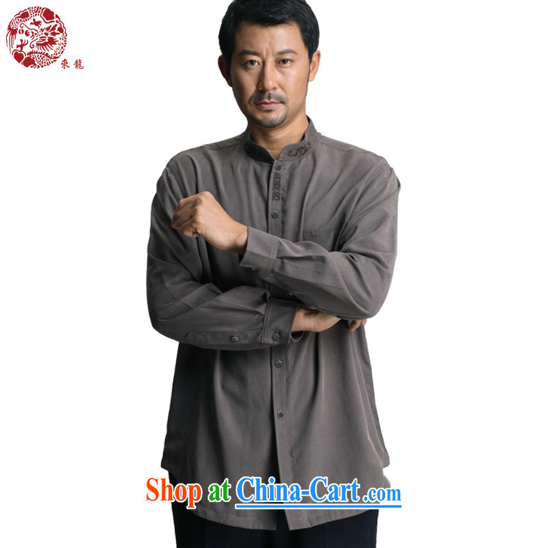 To Kowloon Tong with autumn China wind men's day, long-sleeved T-shirt dark gray 14,327 50, gray 52