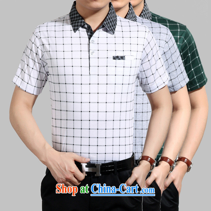 Health Concerns _ summer middle-aged men's casual short-sleeved T-shirt lapel middle-aged and older men's summer father replace white 3XL