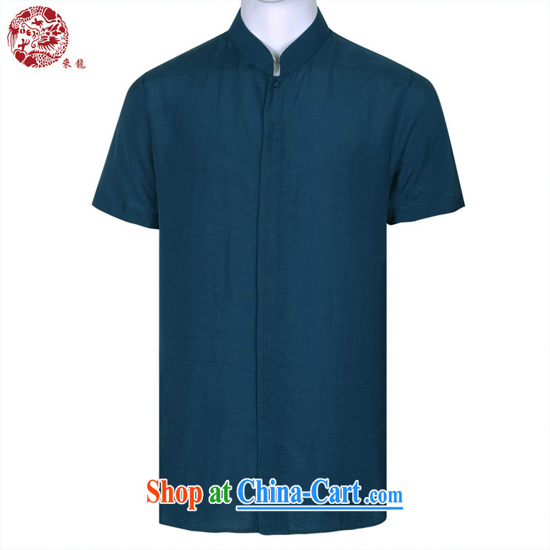 To Kowloon Chinese summer 2015 New China wind men's Silk short-sleeved shirt 15,057 blue 48, blue 50