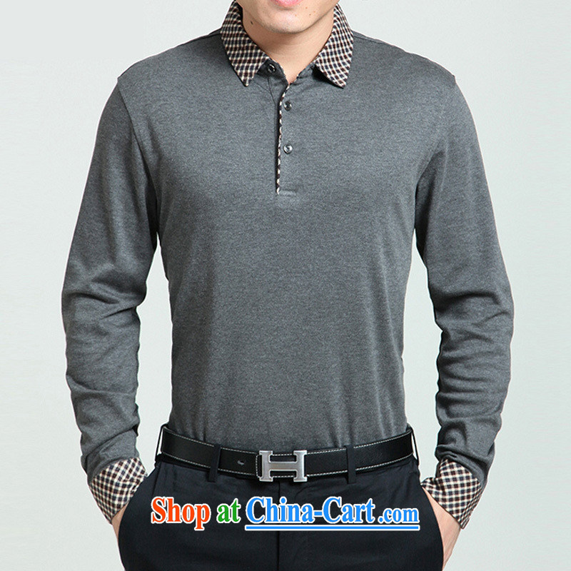 Health Concerns _ 2015 autumn new middle-aged men's casual long-sleeved T-shirt middle-aged and older men's father with lapel T 桖 gray 3 XL