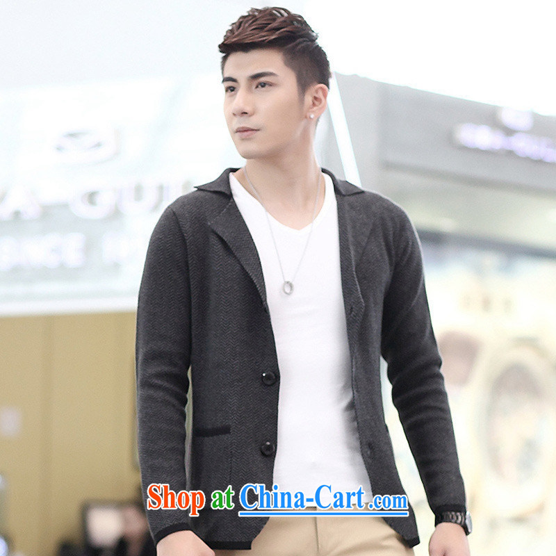 For health concerns * 2015 new autumn and winter clothing men's woolen knitted Korean Beauty suit small light gray XXL, A . J . BB, shopping on the Internet