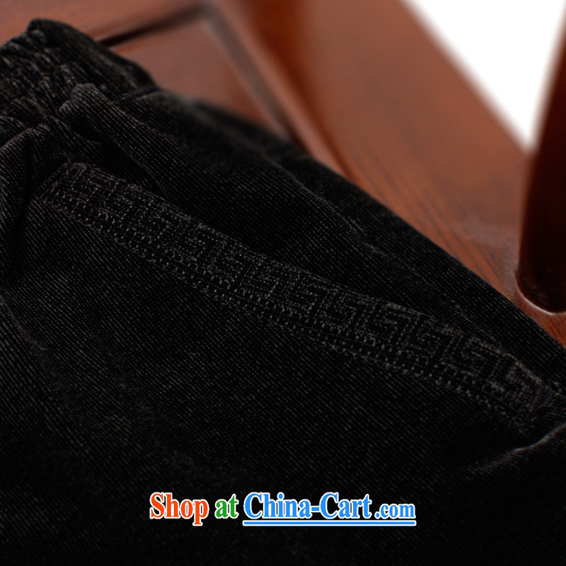 To Kowloon Tong on China wind men's elastic pant 14,350 black 48, black 52, to lung, shopping on the Internet