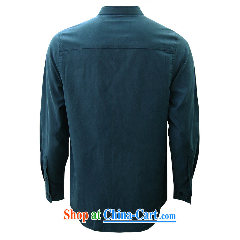 To Kowloon Tong with autumn, China wind men's day, long-sleeved T-shirt 14,317 blue 48 yards career cyan 48 to Kowloon, and shopping on the Internet