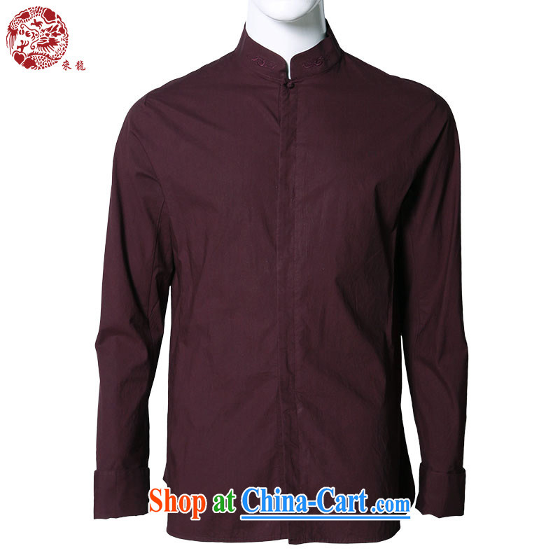 To Kowloon Tong with Autumn Chinese wind men's cotton long-sleeved T-shirt A 13,942 burgundy 48, burgundy 52