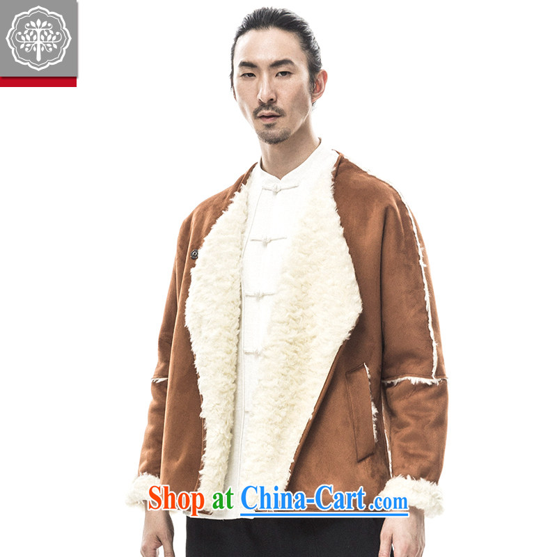 to tree fall 2015 new Chinese men's long-sleeved jacket thick warm improved Han-men and China's Tang tea Huang 185_XXL