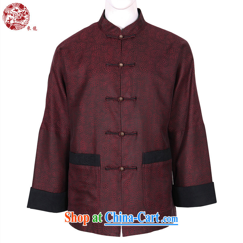 To Kowloon Tong with autumn and winter, China wind men's Silk jacquard jacket 14,550 dark red 48, dark red 52